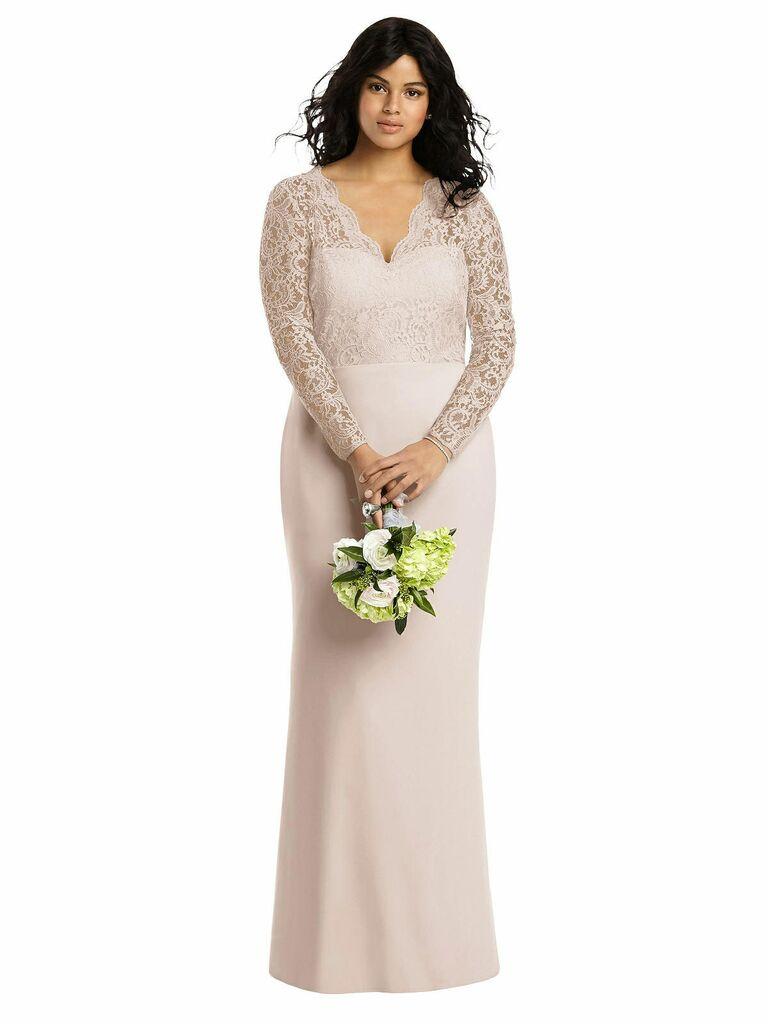 long bridesmaid dress with lace sleeves