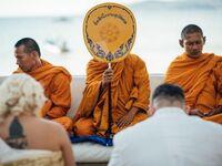 monks residing over Buddhist wedding ceremony