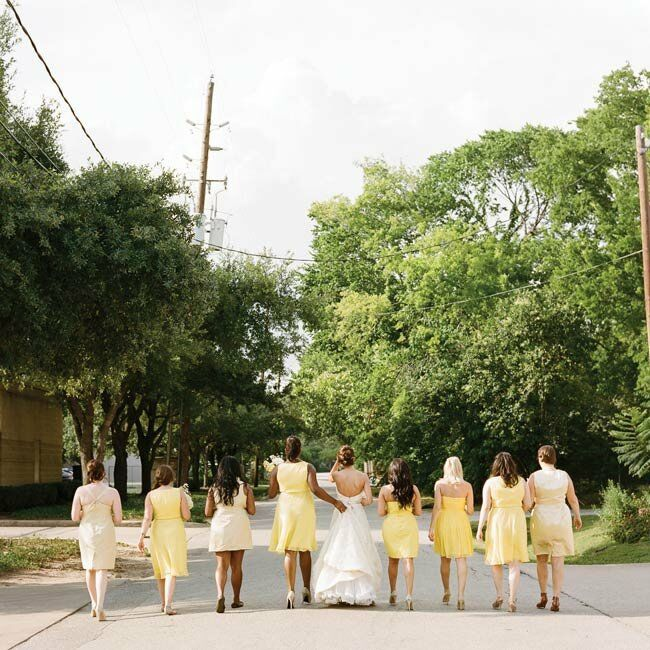 Sarah let each of the girls choose her own dress style and shade of yellow.