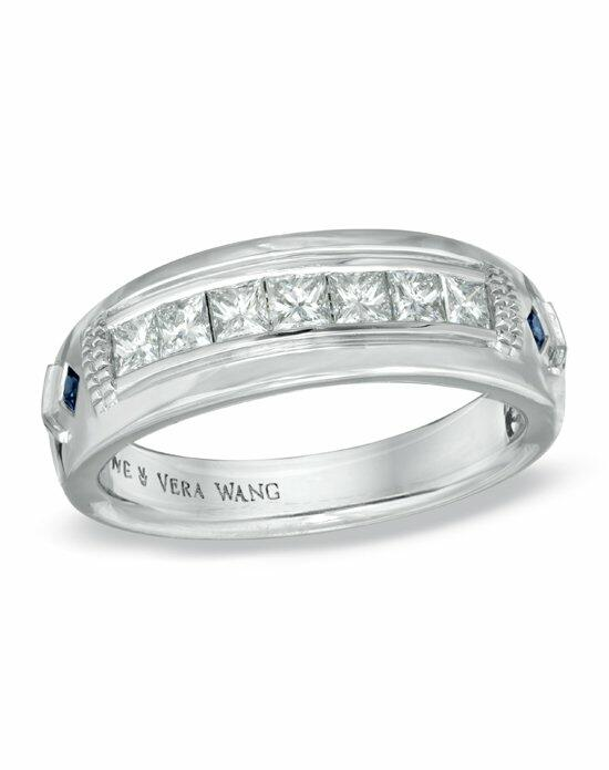 Vera Wang LOVE at Zales Vera Wang LOVE Collection Men's 3/4 CT. T.W. Princess-Cut Diamond Wedding Band in 14K White Gold  19377613 Wedding Ring photo