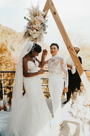 Couple Smiling After Vow Exchange in Asheville, North Carolina