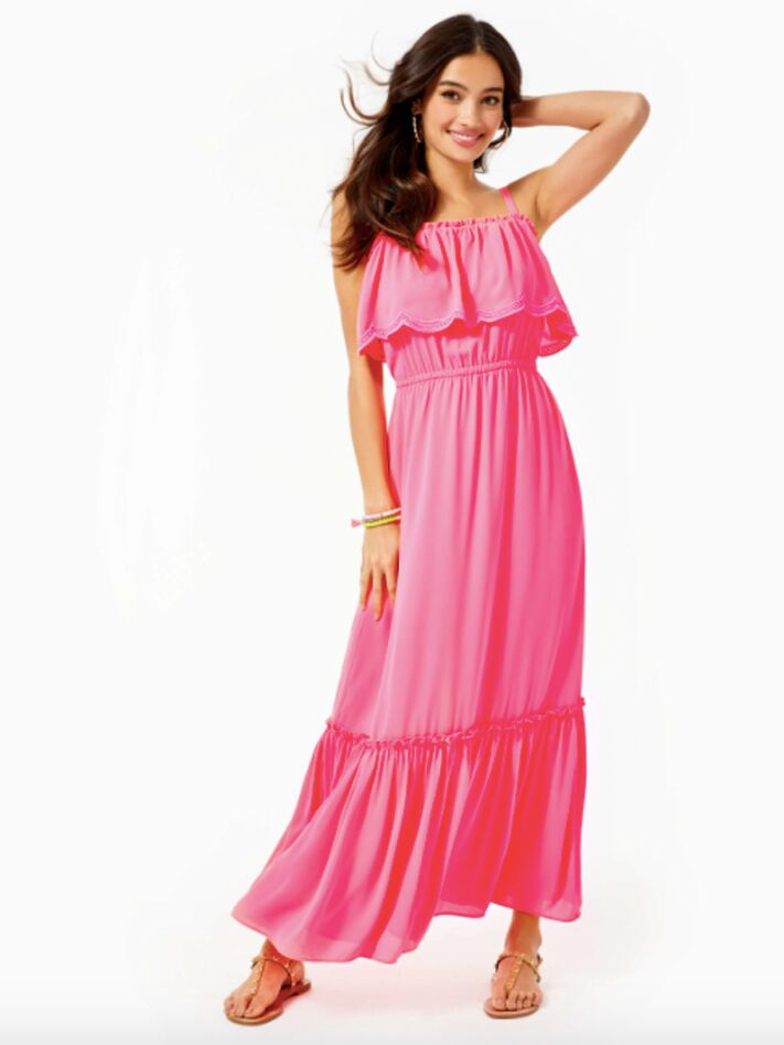 PInk maxi dress with tiered skirt
