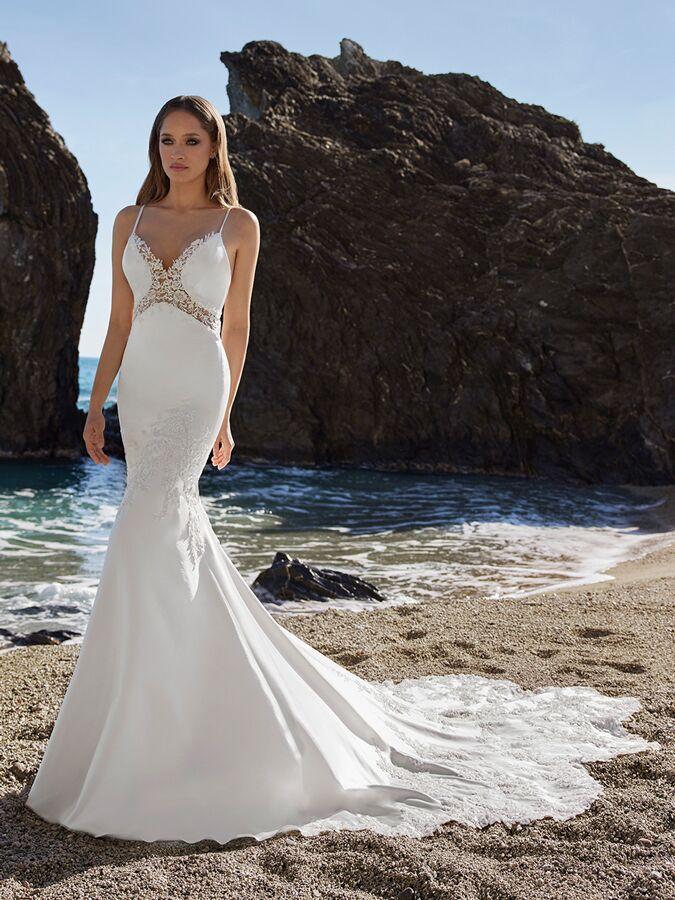 Ines by Ines Di Santo spaghetti strap stretch trumpet wedding dress