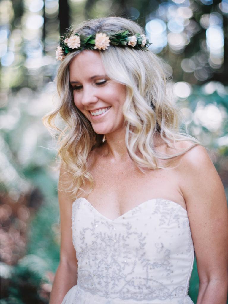 country wedding hairstyles pastel flower crown