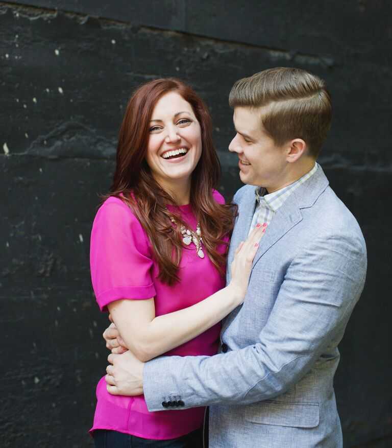 Couple portrait in pink shirt and suit for engagement photography session