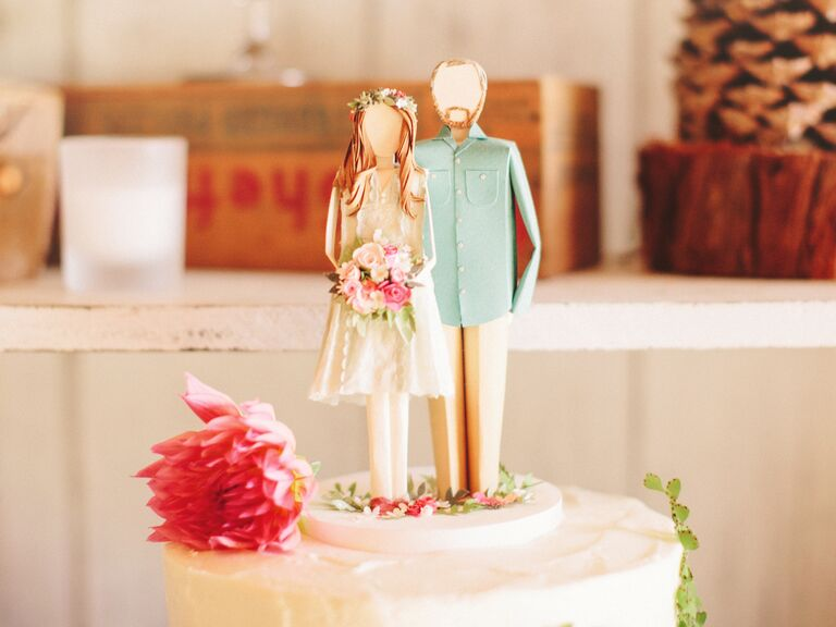 Paper bride and groom cake topper