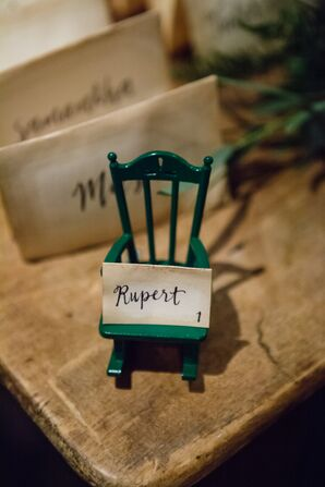 Vintage-Inspired Escort Card on Rocking Chair