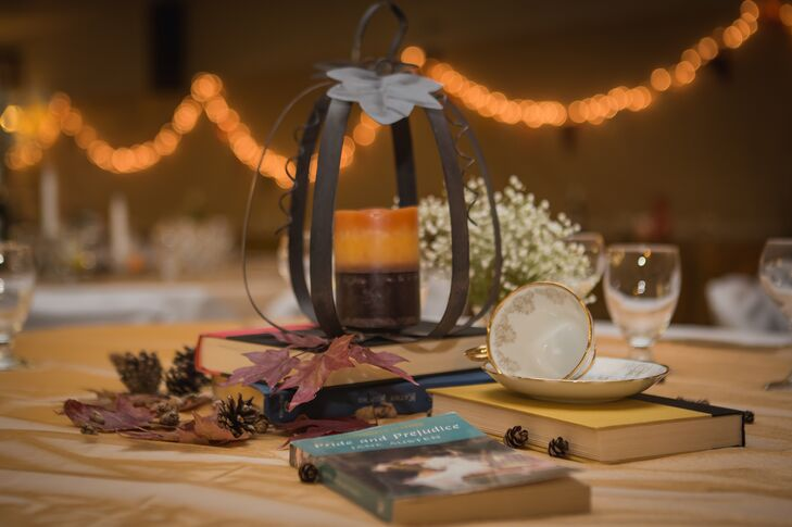 Candle in Wire Pumpkin Centerpieces