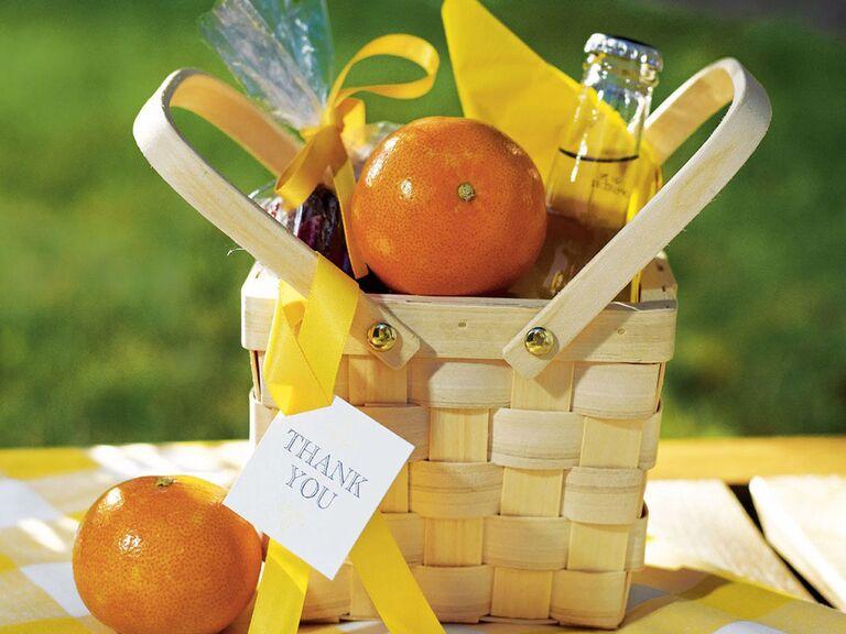 Retro mini picnic basket welcome basket idea