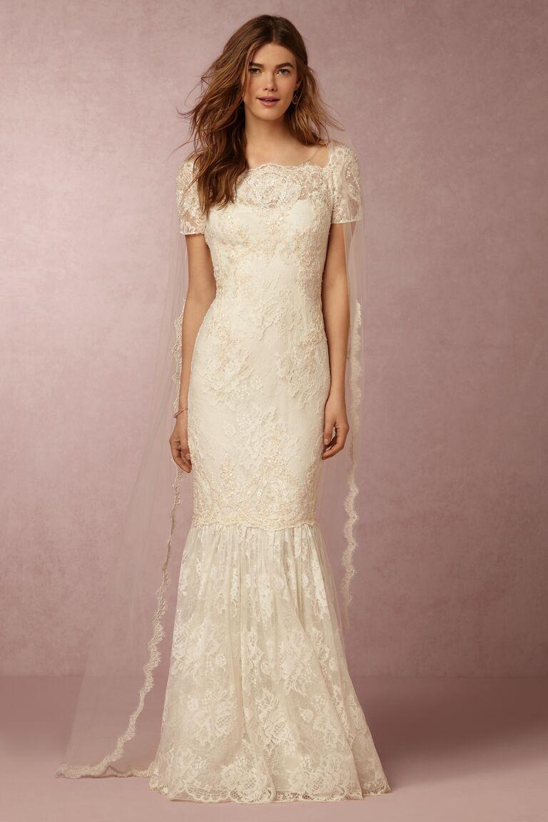 Marchesa Notte x BHLDN lace column wedding dress with cape