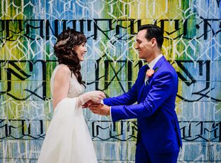 """The wedding of AnyaWarburg and Chris Ford was lively, personalized and full of color and personality. """"What was most important to us in planning our"""