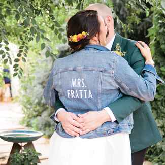 bride in Mrs. denim jacket