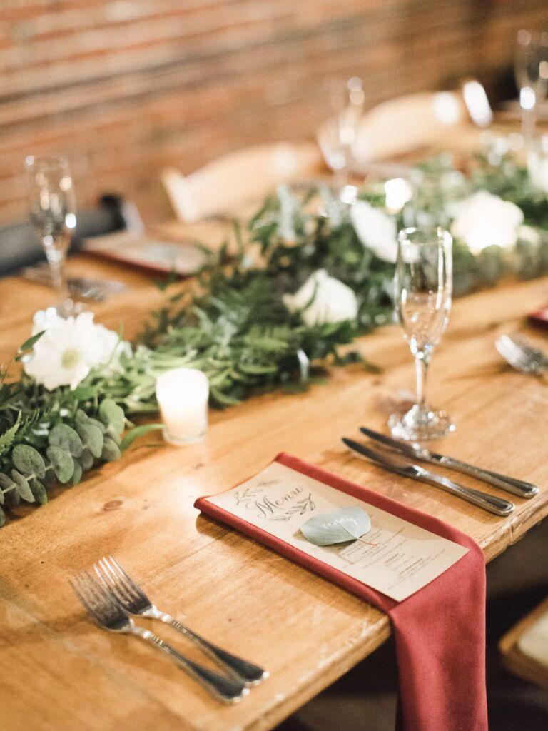 winter wedding ideas rustic table setting