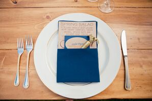 Brown and Blue Seating Cards