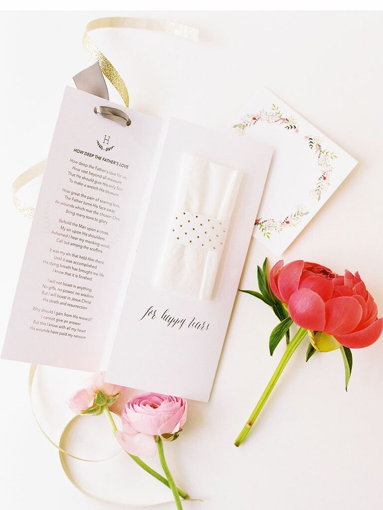 how to honor a loved one at wedding ceremony program with poem about dad and tissue insert