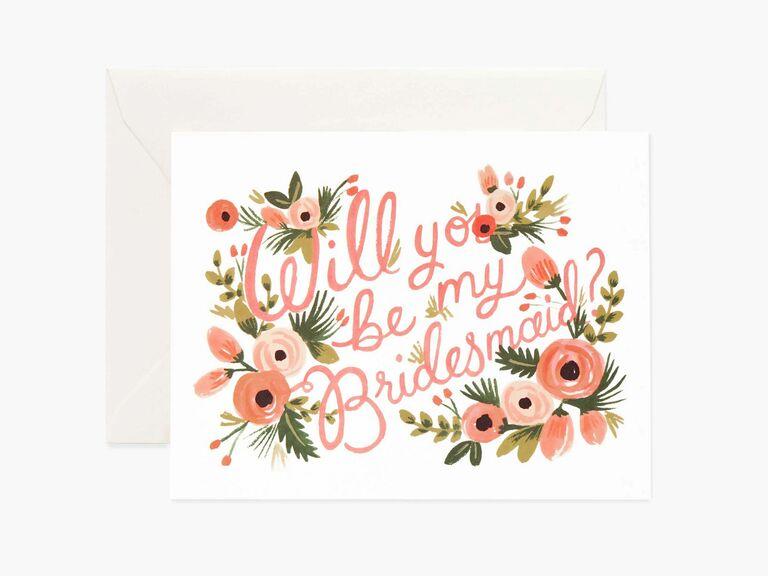 floral print bridesmaid proposal card