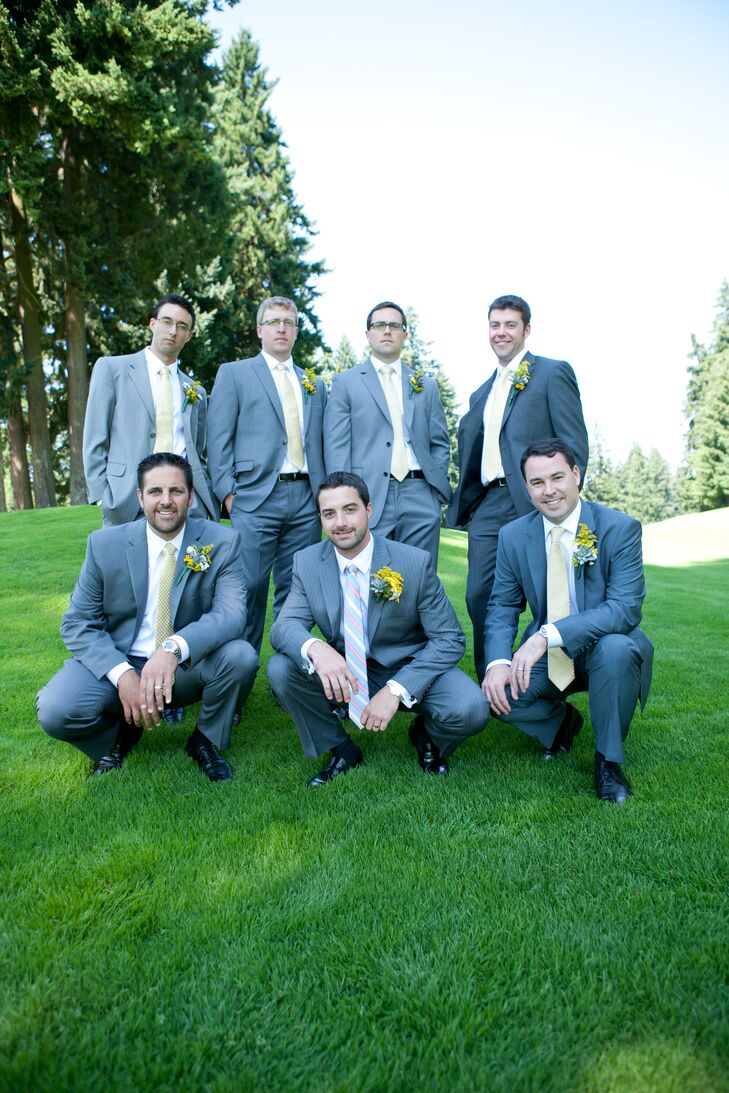 The groom and groomsmen all wore gray suits with yellow boutonnieres. Bryan was the only one wearing a colorful striped tie.