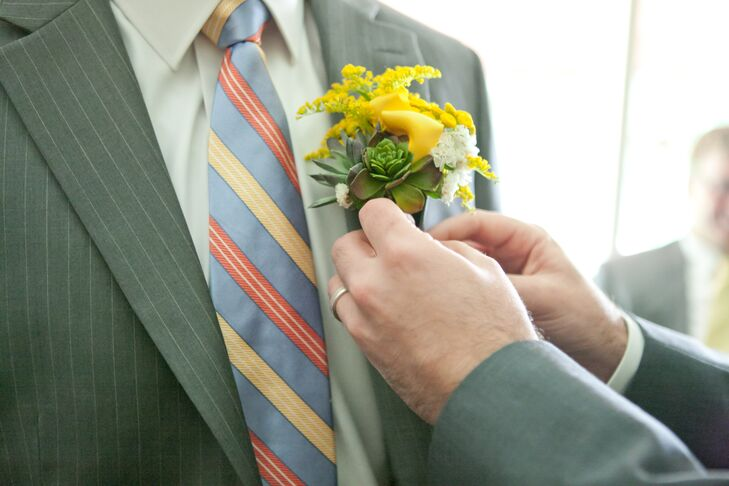 Yellow and Green Succulent Boutonniere