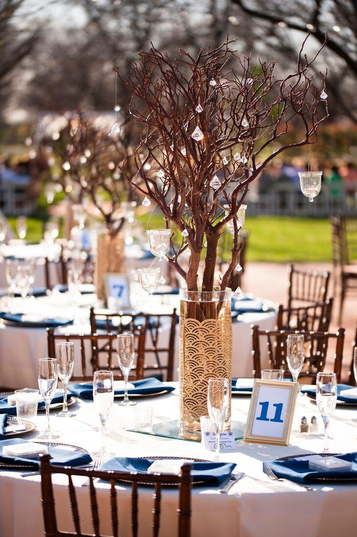 Natural manzanita branches with hanging candles