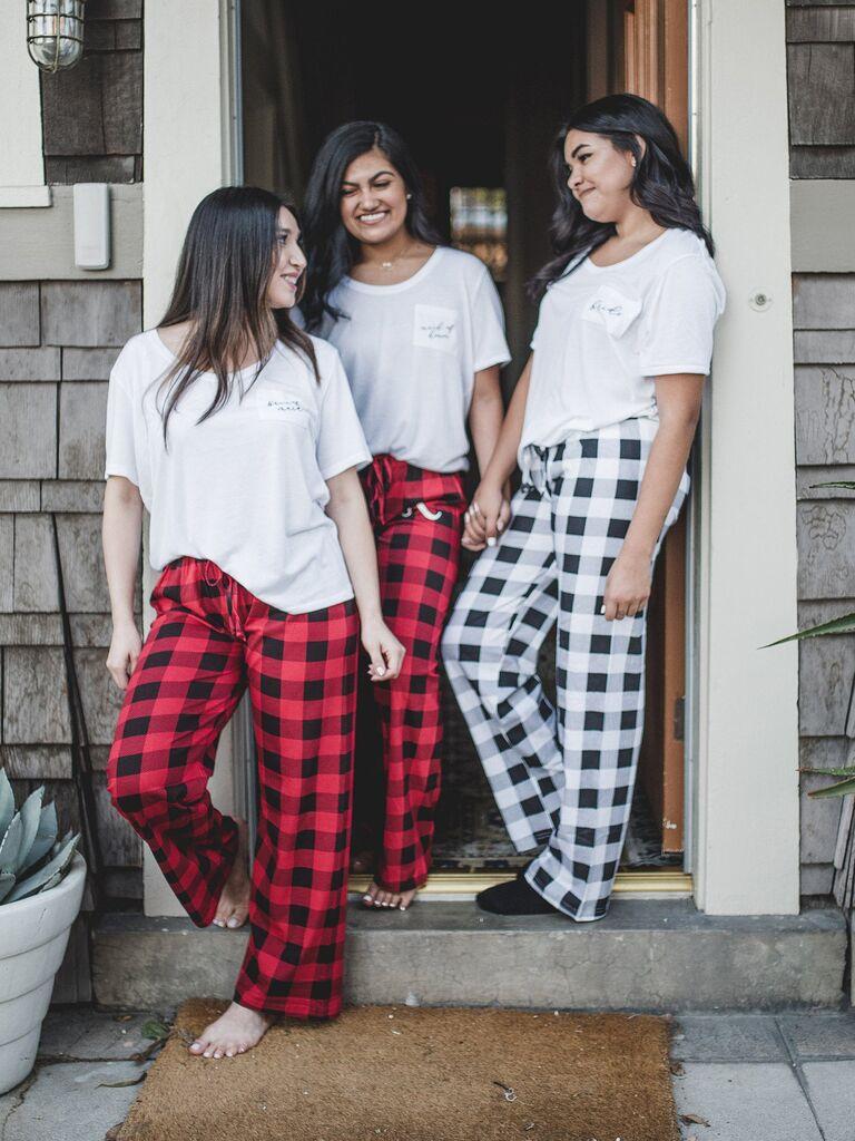 Bridesmaid pajama sets with flannel PJ pants