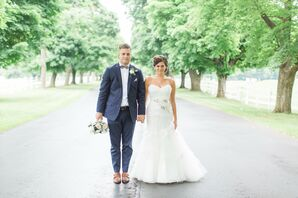 Navy and White Bride and Groom
