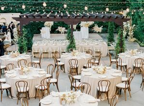 Boho Wedding Reception With Bentwood Chairs at Franciscan Gardens in San Juan Capistrano, California
