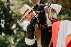 Photo Booth Technician at Glamorous DIY Backyard Wedding