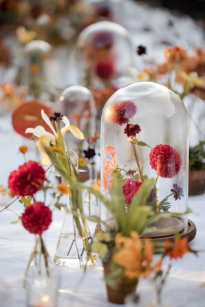 Dahlia Centerpieces Under Glass Cloches for Wedding at The Foundry in Long Island City, New York