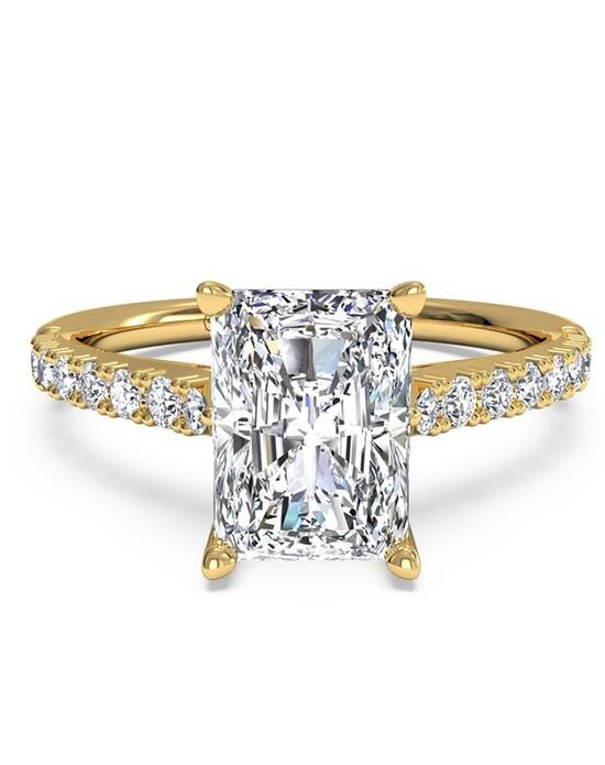Ritani French-Set Diamond Band Engagement Ring - in 18kt Yellow Gold (0.23 CTW) for a Radiant Center Stone Engagement Ring photo