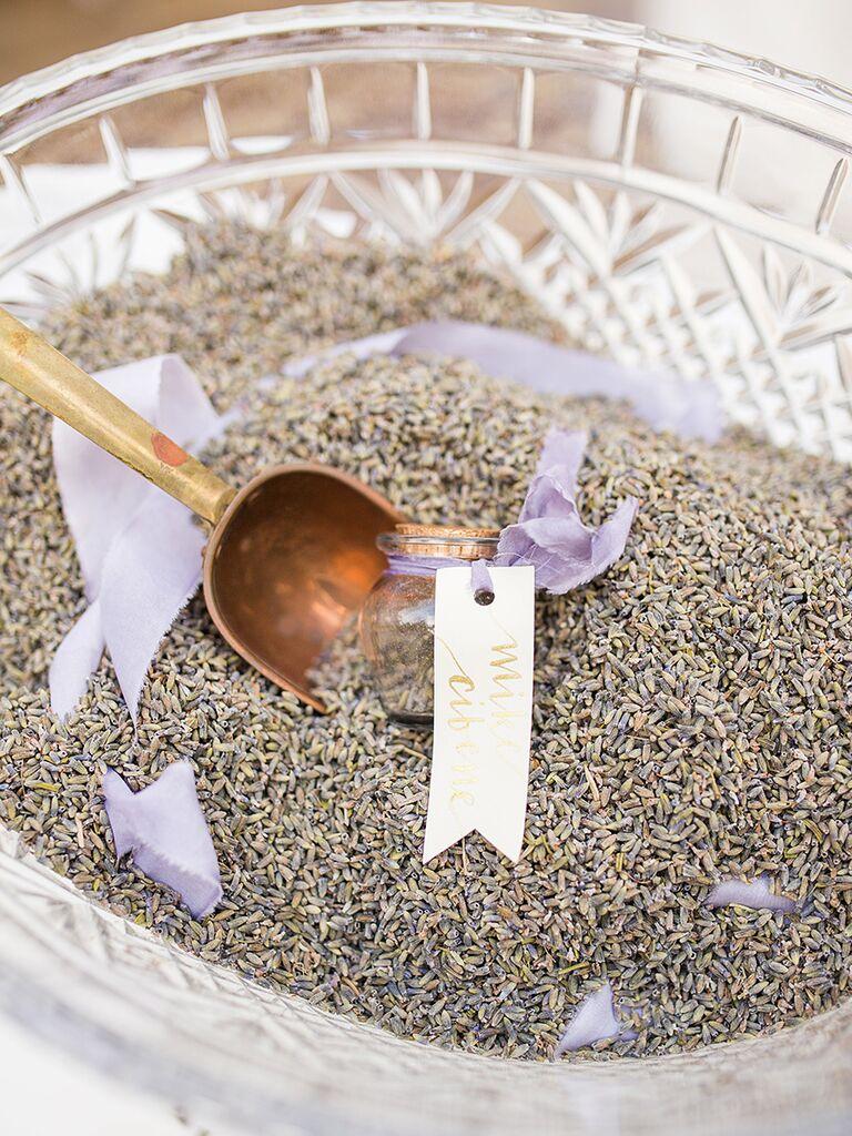 Dried lavender wedding send-off idea