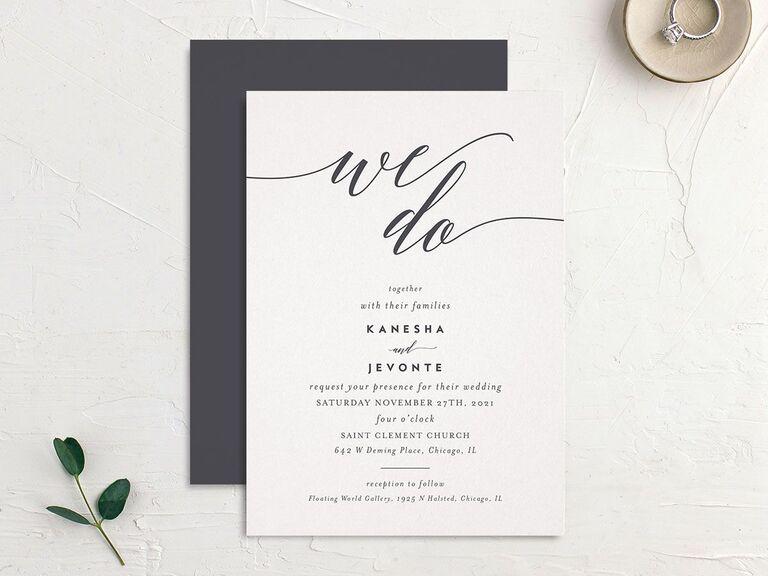 We Do romantic script wedding invitation budget friendly