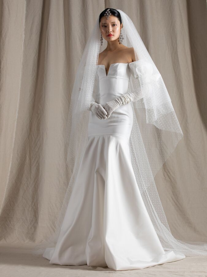 Naeem Khan silk mikado trumpet wedding dress