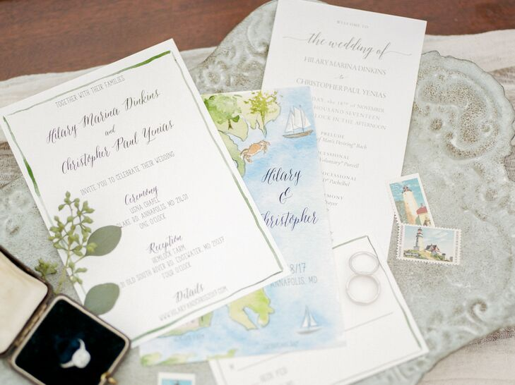 Wedding Paper Goods Included Custom Invitations and Watercolor Map