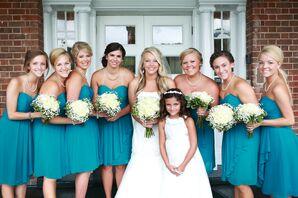 Teal Knee-Length Bridesmaid Dresses