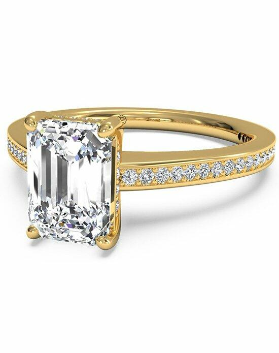 Ritani Emerald Cut Diamond Micropave Band Engagement Ring in 18kt Yellow Gold (0.20 CTW) Engagement Ring photo