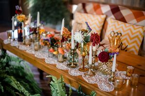 Sweetheart Table with Chevron Pillows and Antique Vases