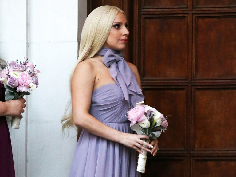 Lady Gaga wears a purple bridesmaid dress at her friend's wedding