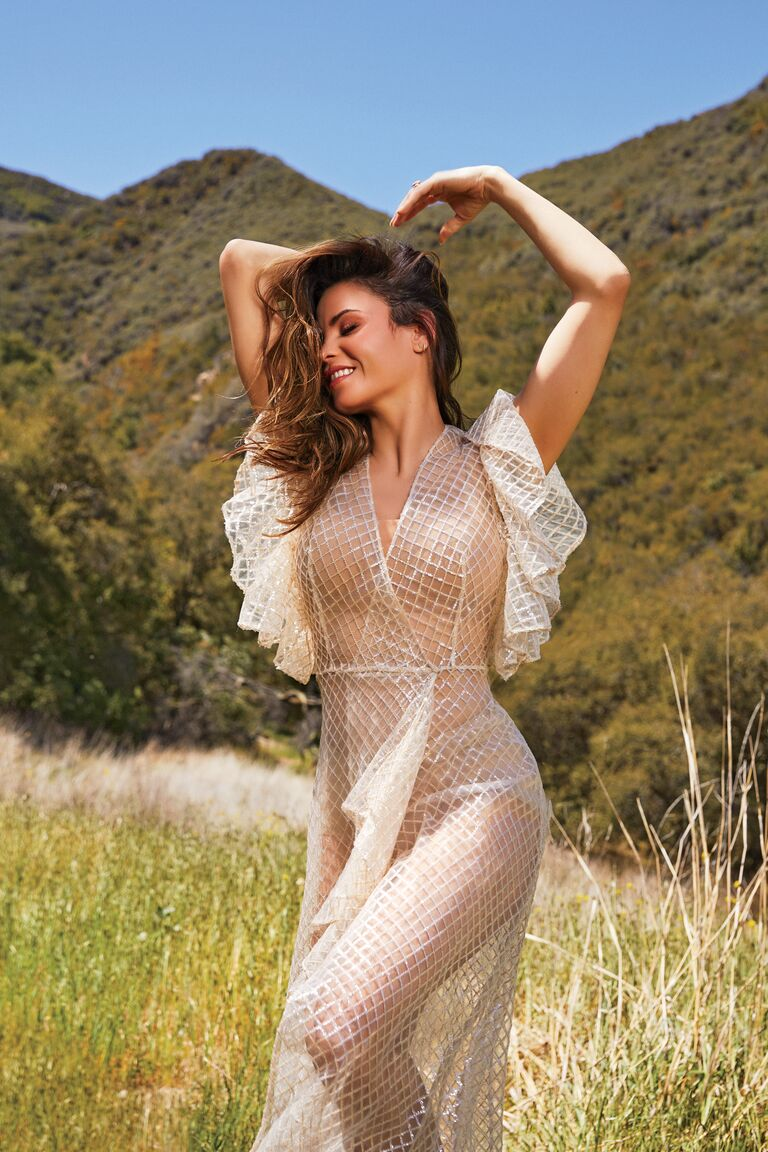 Jenna Dewan wedding dress in fields The Knot Magazine Fall Winter 2021 cover star