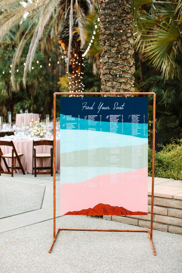Blue-and-Pink Multicolored Seating Chart With Copper Frame