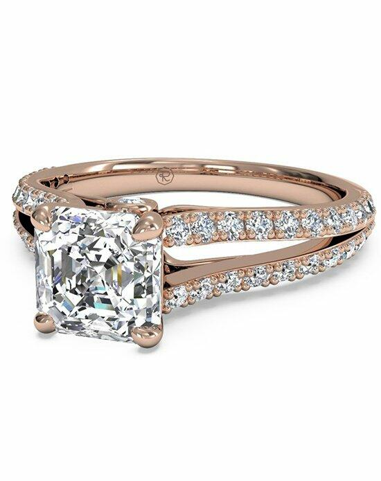 Ritani Asscher Cut Double French-Set Diamond 'V' Engagement Ring with Surprise Diamonds in 18kt Rose Gold (0.24 CTW) Engagement Ring photo