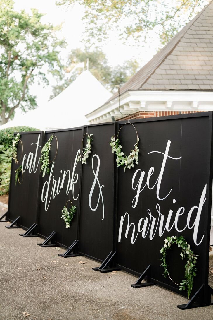 Dramatic Black-and-White Sign Wall