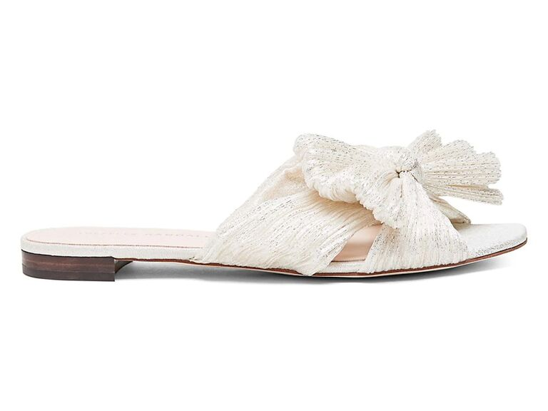 saks fifth avenue metallic bride slippers with bow