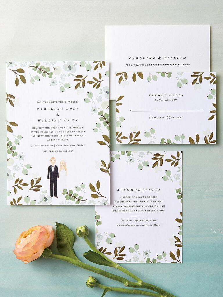 Color Me Carla garden themed wedding invitations