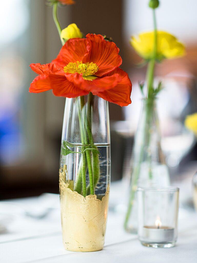 DIY wedding reception flower idea
