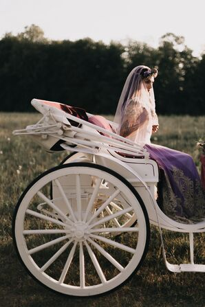 The Bride Rode into the Wedding Ceremony on a Carriage