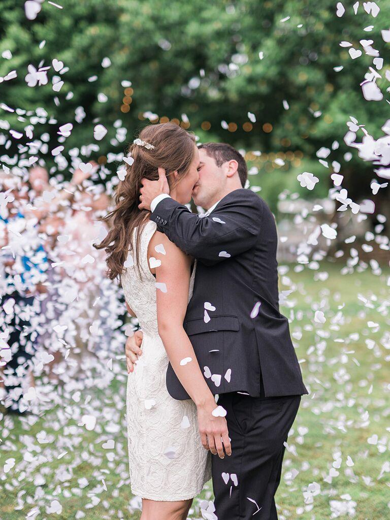 Heart-shaped confetti wedding ceremony exit