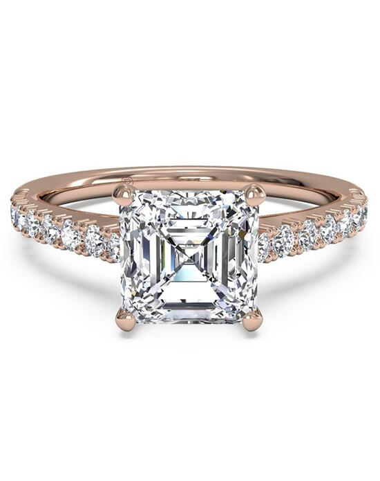 Ritani French-Set Diamond Band Engagement Ring - in 18kt Rose Gold (0.23 CTW) for a Asscher Center Stone Engagement Ring photo