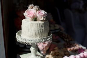 Single-Layer White Frosted Wedding Cake