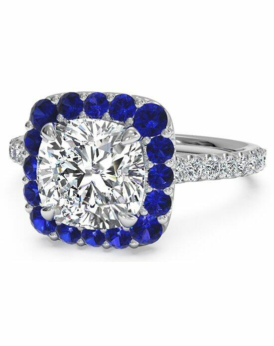 Ritani French-Set Sapphire Cushion Halo Diamond Band Engagement Ring in 18kt White Gold (0.20 CTW) Engagement Ring photo
