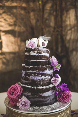 Naked Chocolate Wedding Cake With Purple Filling